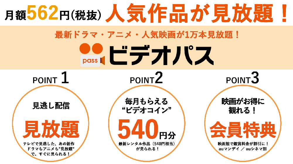 ビデオパスなら月額562円(税抜)で人気作品が見放題!